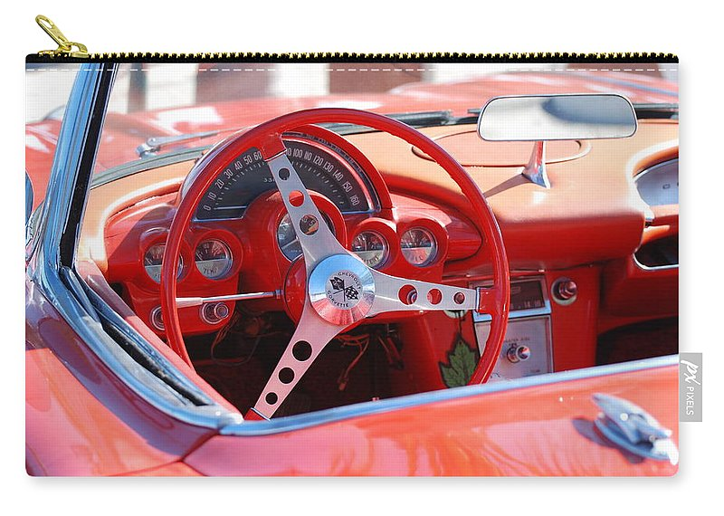 Corvette Carry-all Pouch featuring the photograph Little Red Corvette by Rob Hans