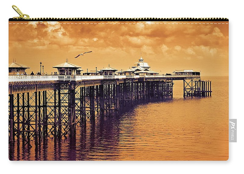 Llandudno Carry-all Pouch featuring the photograph Llandudno Pier North Wales Uk by Mal Bray