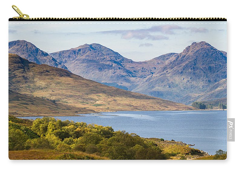 Loch Arklet Carry-all Pouch featuring the photograph Loch Arklet And The Arrochar Alps by Gary Eason
