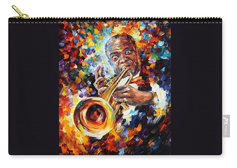 Afremov Carry-all Pouch featuring the painting Louis Armstrong . by Leonid Afremov