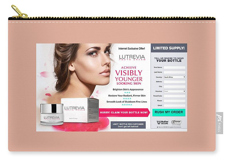 Lutrevia Youth Cream Carry-all Pouch featuring the drawing Lutrevia Youth Cream by Lutrevia Youth Cream
