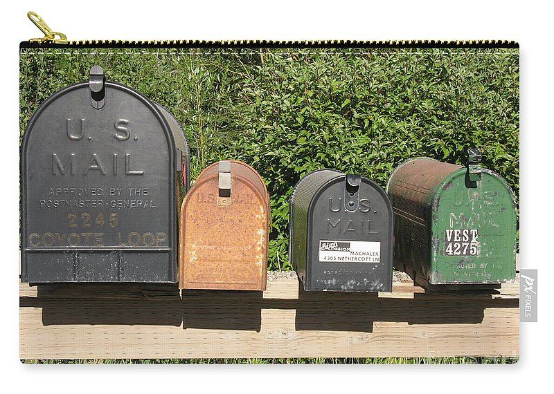 Mail Carry-all Pouch featuring the photograph Mail Boxes by Diane Greco-Lesser
