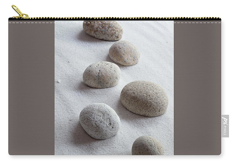 Meditation Carry-all Pouch featuring the photograph Meditation Stones On White Sand by Michelle Himes