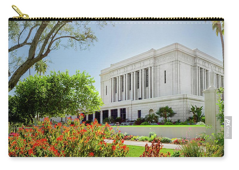 Mesa Temple Photography Carry-all Pouch featuring the photograph Mesa Temple Sun Glow by La Rae Roberts