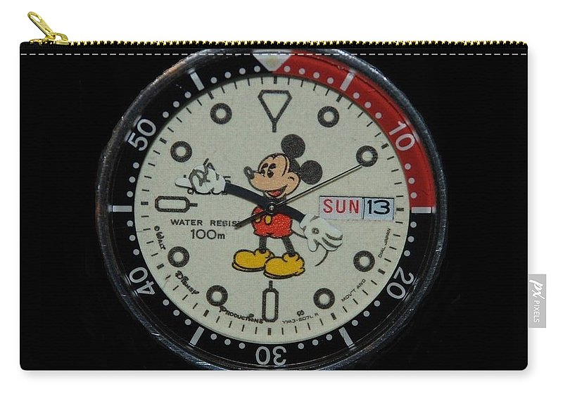 Mickey Mouse Carry-all Pouch featuring the photograph Mickey Mouse Watch Face by Rob Hans