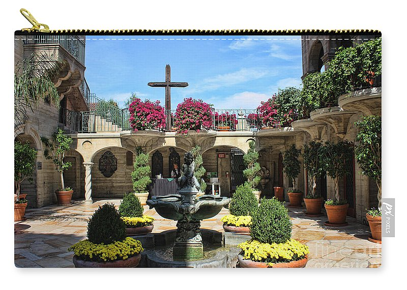 Mission Inn Carry-all Pouch featuring the photograph Mission Inn Chapel Courtyard by Tommy Anderson
