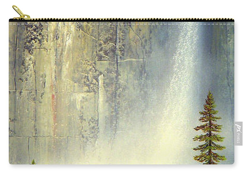 Landscape Carry-all Pouch featuring the painting Misty Falls by Frank Wilson