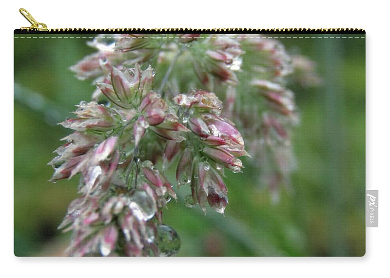 Ryegrass Carry-all Pouch featuring the photograph Morning Dewdrops by Kim Tran