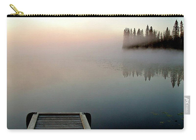 Mist Carry-all Pouch featuring the digital art Morning Mist Over Lynx Lake In Northern Saskatchewan by Mark Duffy
