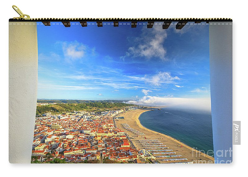 Nazare Carry-all Pouch featuring the photograph Nazare Portugal Skyline by Benny Marty
