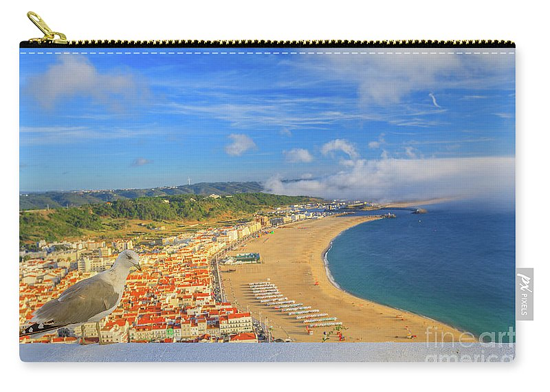 Nazare Portugal Carry-all Pouch featuring the photograph Nazare Skyline Seagull by Benny Marty
