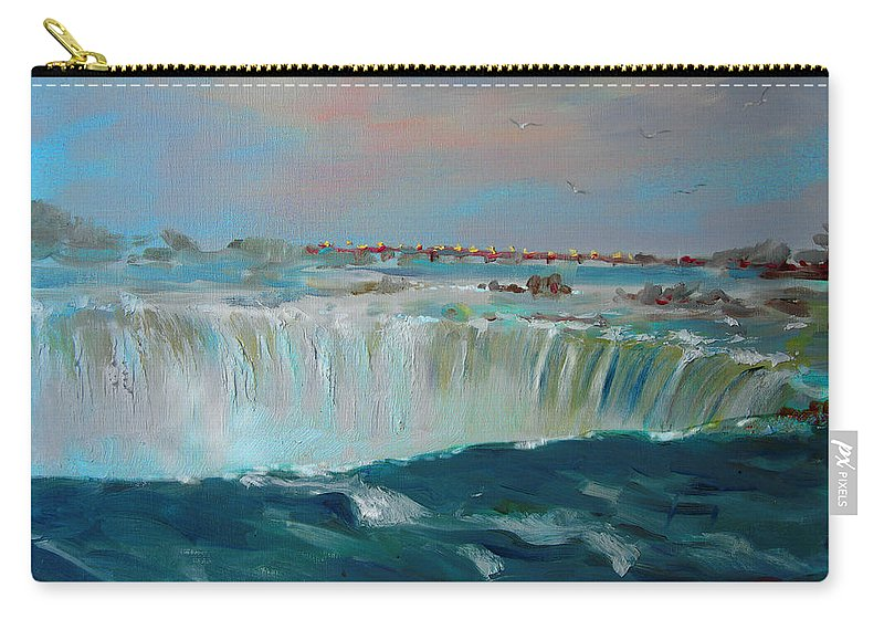 Landscape Carry-all Pouch featuring the painting Niagara Falls by Ylli Haruni