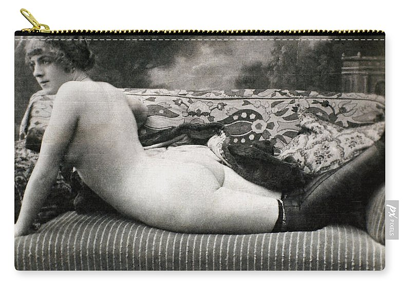 1900 Carry-all Pouch featuring the painting Nude Posing, C1900 by Granger