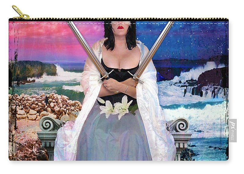 Tarot Carry-all Pouch featuring the digital art 2 Of Swords by Tammy Wetzel