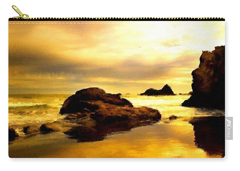 A Carry-all Pouch featuring the digital art Oil Canvas Landscape by Malinda Spaulding