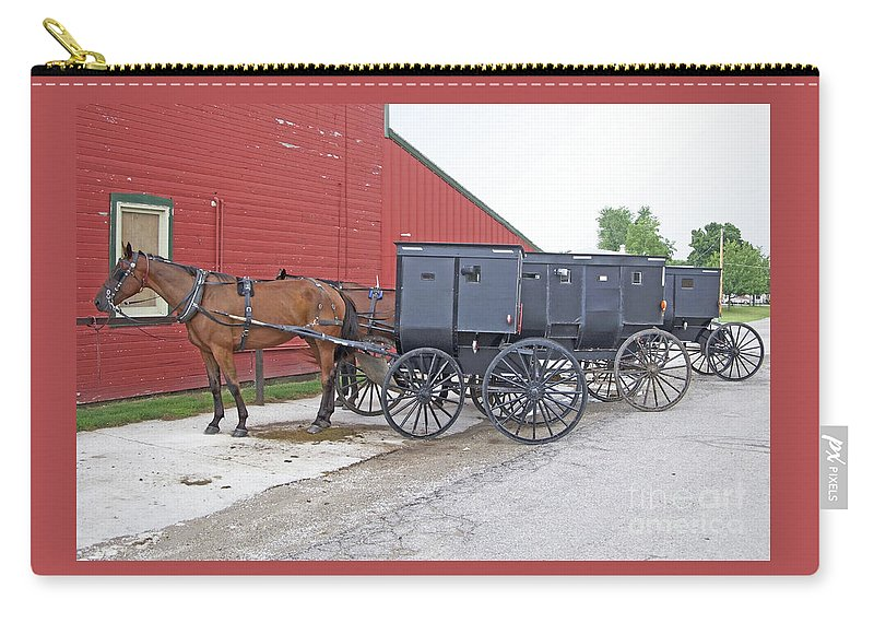 Amish Carry-all Pouch featuring the photograph Amish Parking Lot by Ann Horn