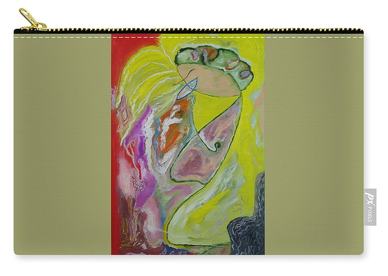 Abstract Carry-all Pouch featuring the painting 2 People And 2 Trees by Bennu Bennu