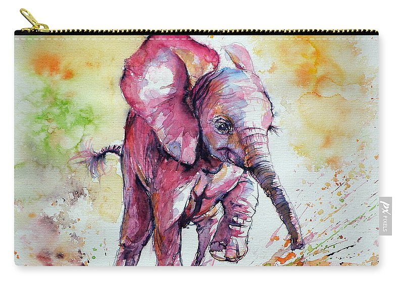 Elephant Carry-all Pouch featuring the painting Playing Elephant Baby by Kovacs Anna Brigitta