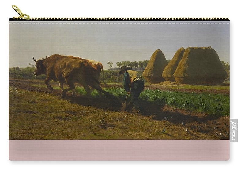 Rosa Bonheur Carry-all Pouch featuring the painting Cattle At Rest On A Hillside In The Alps by Rosa Bonheur