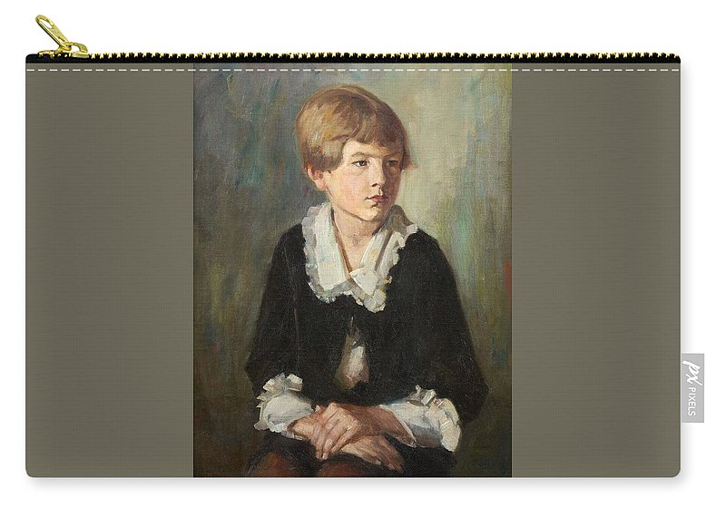 Emil Rudolf Weiss Carry-all Pouch featuring the painting Portrait Of A Seated Child by Emil Rudolf