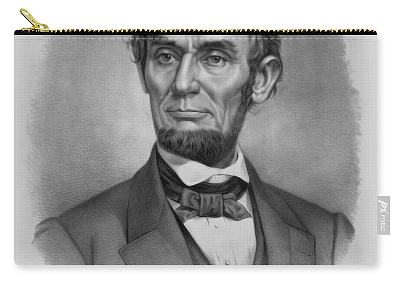 Abraham Lincoln Carry-all Pouch featuring the drawing President Lincoln by War Is Hell Store
