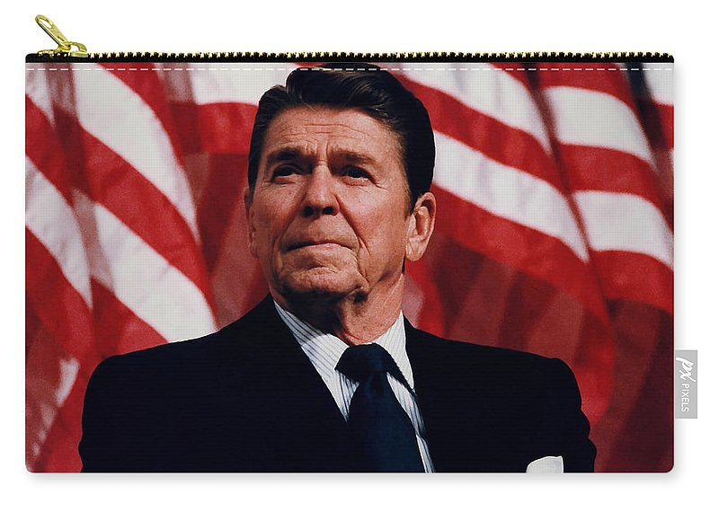Ronald Reagan Carry-all Pouch featuring the photograph President Ronald Reagan by War Is Hell Store