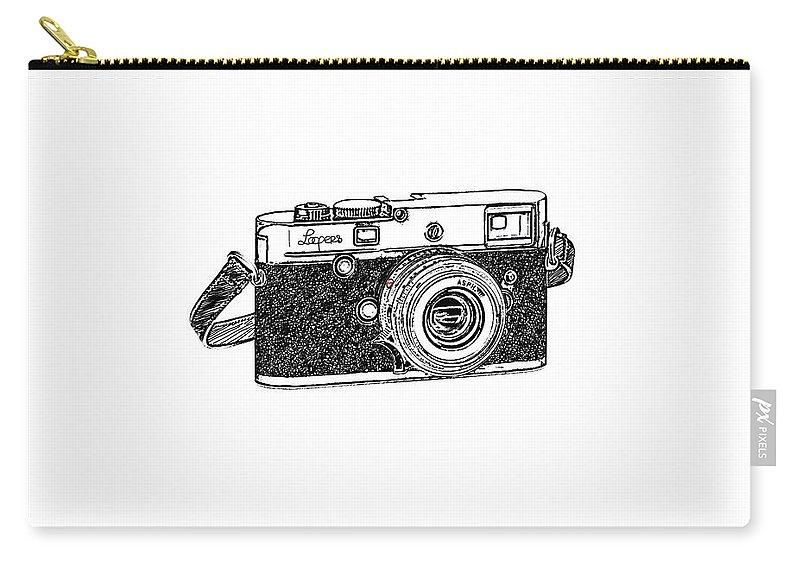 Analog Carry-all Pouch featuring the digital art Rangefinder Camera by Setsiri Silapasuwanchai