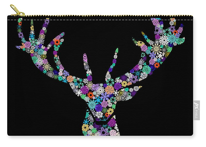 Animal Carry-all Pouch featuring the digital art Reindeer Design By Snowflakes by Setsiri Silapasuwanchai