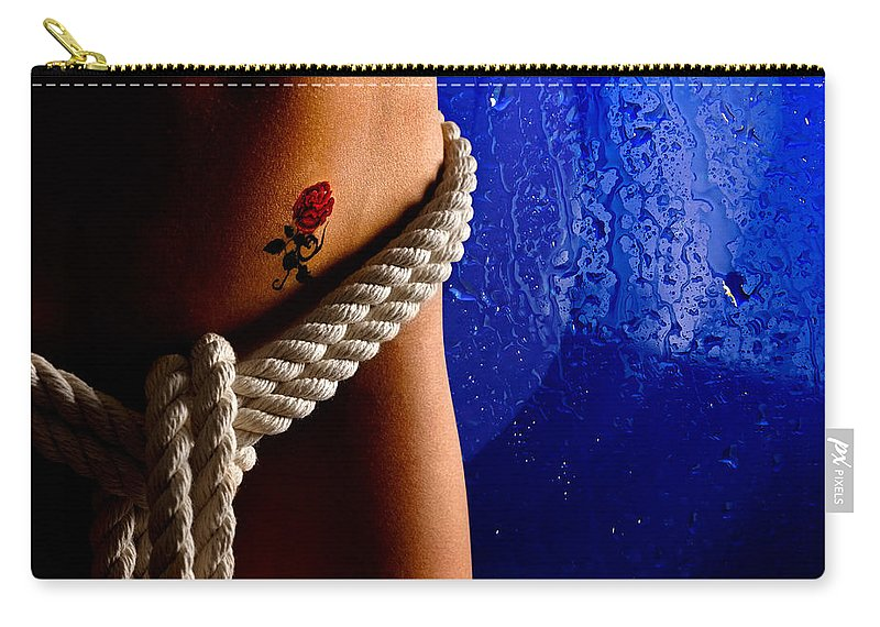 Nude Carry-all Pouch featuring the photograph Rope Around Woman's Waist by Oleksiy Maksymenko