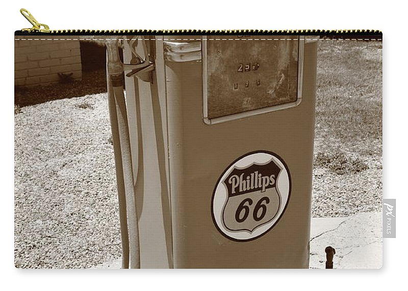 66 Carry-all Pouch featuring the photograph Route 66 Gas Pump by Frank Romeo