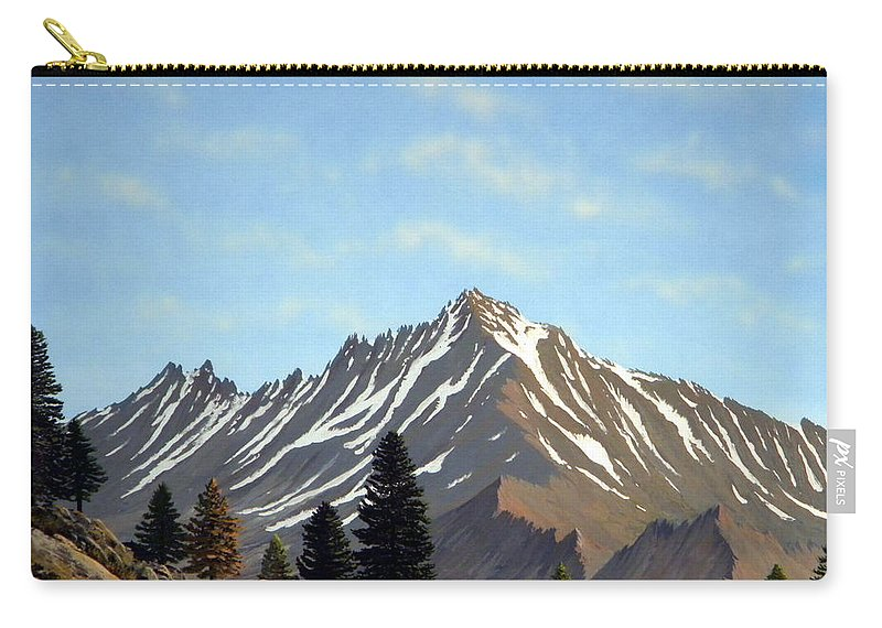 Landscape Carry-all Pouch featuring the painting Rugged Peaks by Frank Wilson