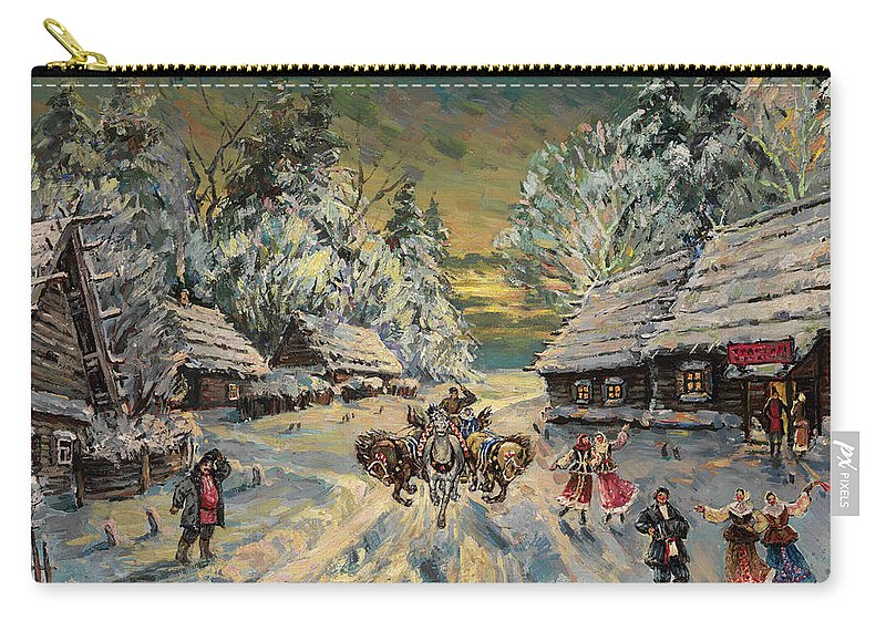 Korovin Carry-all Pouch featuring the painting Russian Winter by MotionAge Designs