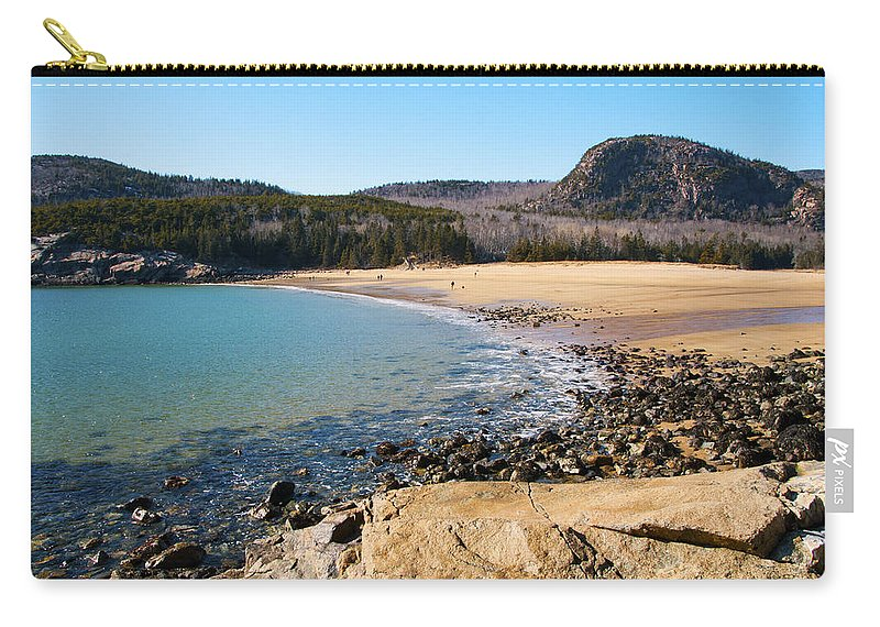 Sand Beach Carry-all Pouch featuring the photograph Sand Beach Acadia National Park by Glenn Gordon
