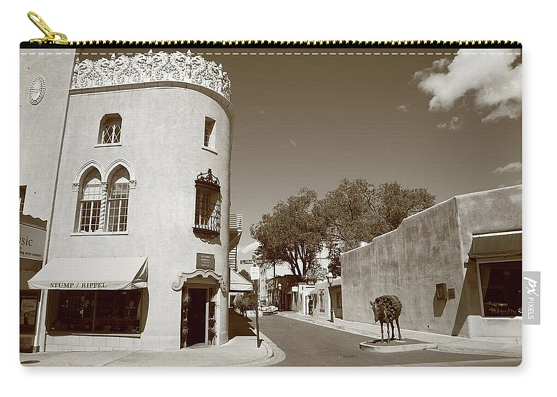 Adobe Carry-all Pouch featuring the photograph Santa Fe New Mexico by Frank Romeo