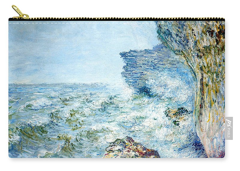 Claude Monet - Fecamp Carry-all Pouch featuring the painting Seaside by MotionAge Designs