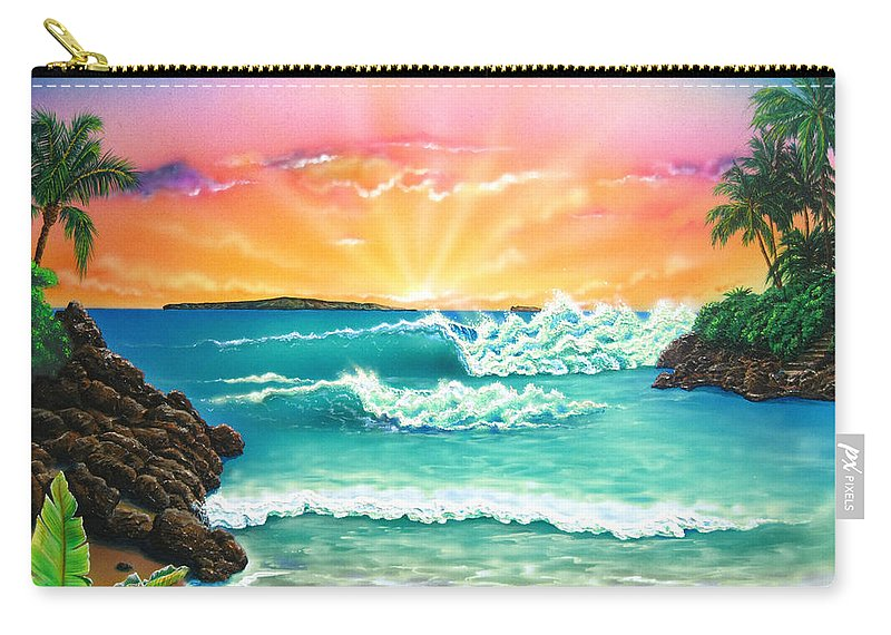 Seascape Carry-all Pouch featuring the painting Secret Beach by Angie Hamlin