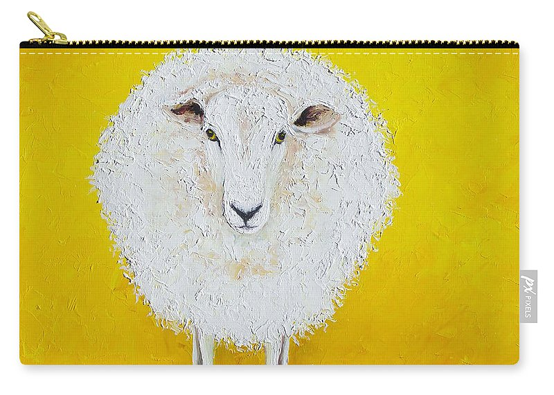 Sheep Painting On Yellow Background Carry All Pouch For Sale By Jan