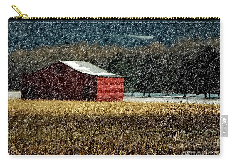 Barn Carry-all Pouch featuring the photograph Snowy Red Barn In Winter by Lois Bryan