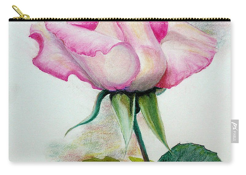 Rose Pastel Paintings Carry-all Pouch featuring the pastel So Pink by Karin Dawn Kelshall- Best