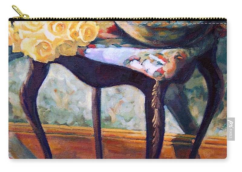 Still Life Carry-all Pouch featuring the painting Still Life With Roses by Iliyan Bozhanov