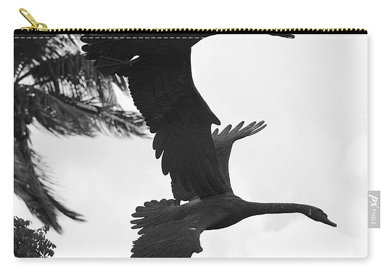 Black And White Carry-all Pouch featuring the photograph Stone Birds by Rob Hans