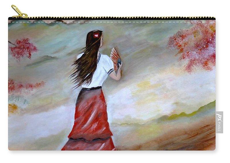 Senorita Carry-all Pouch featuring the painting Strollin Senorita by Lynne Messeck