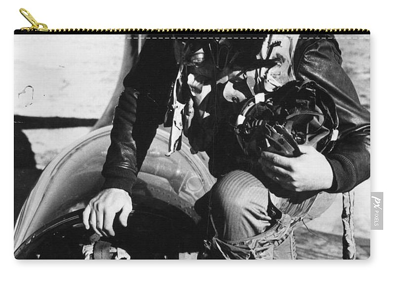 1943 Carry-all Pouch featuring the photograph Ted Williams (1918-2002) by Granger