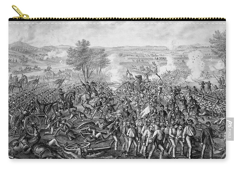 Civil War Carry-all Pouch featuring the mixed media The Battle Of Gettysburg 5 by War Is Hell Store