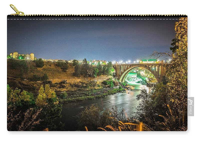 Spokane Carry-all Pouch featuring the photograph The Monroe Street Dam And Bridge At Night, In Spokane, Washingto by Alex Grichenko
