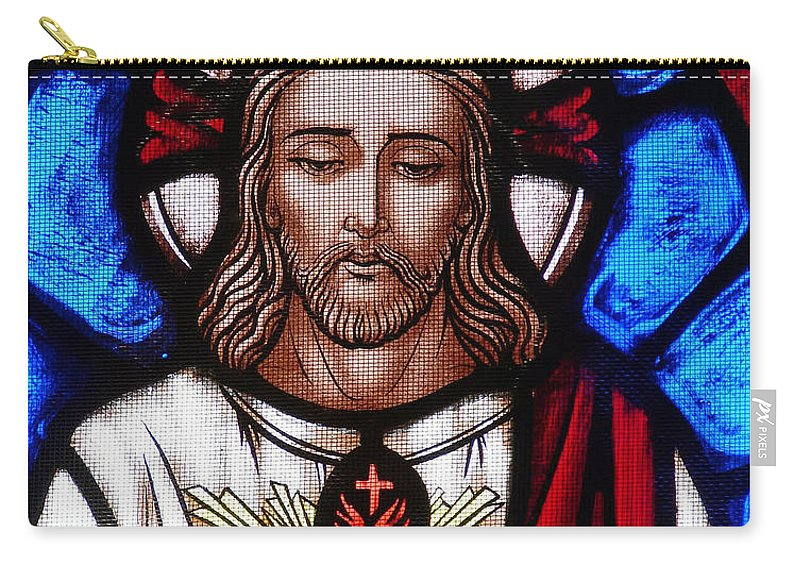 Jesus Carry-all Pouch featuring the photograph The Sacred Heart Of Jesus by French School