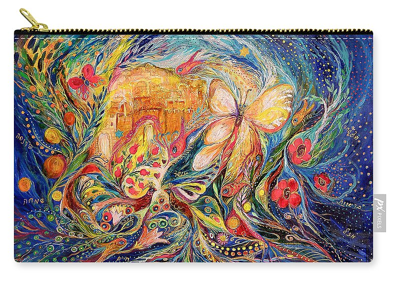 Original Carry-all Pouch featuring the painting The Shining Of Jerusalem by Elena Kotliarker