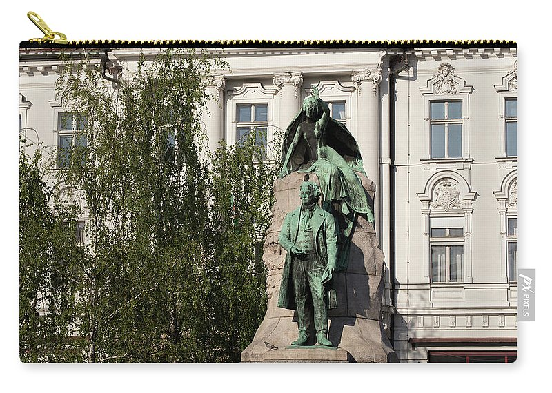 Archival Carry-all Pouch featuring the photograph The Statue Of France Preseren And His Muse by Blaz Gvajc