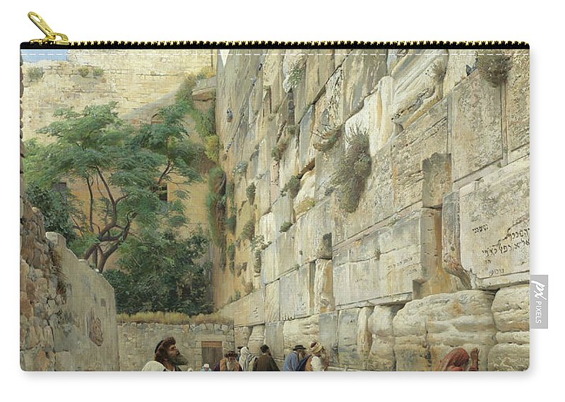 Gustav Bauernfeind Carry-all Pouch featuring the painting The Wailing Wall, Jerusalem by Gustav Bauernfeind