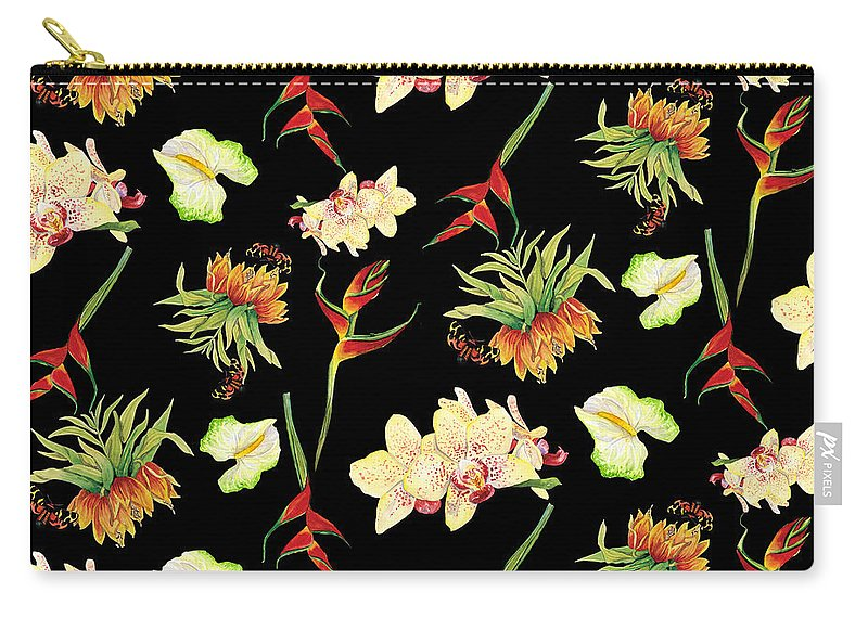 Orchid Carry-all Pouch featuring the painting Tropical Island Floral Half Drop Pattern by Audrey Jeanne Roberts